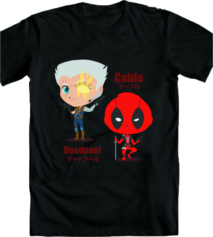 MARVEL KAWAII DEADPOOL & CABLE T/S LG