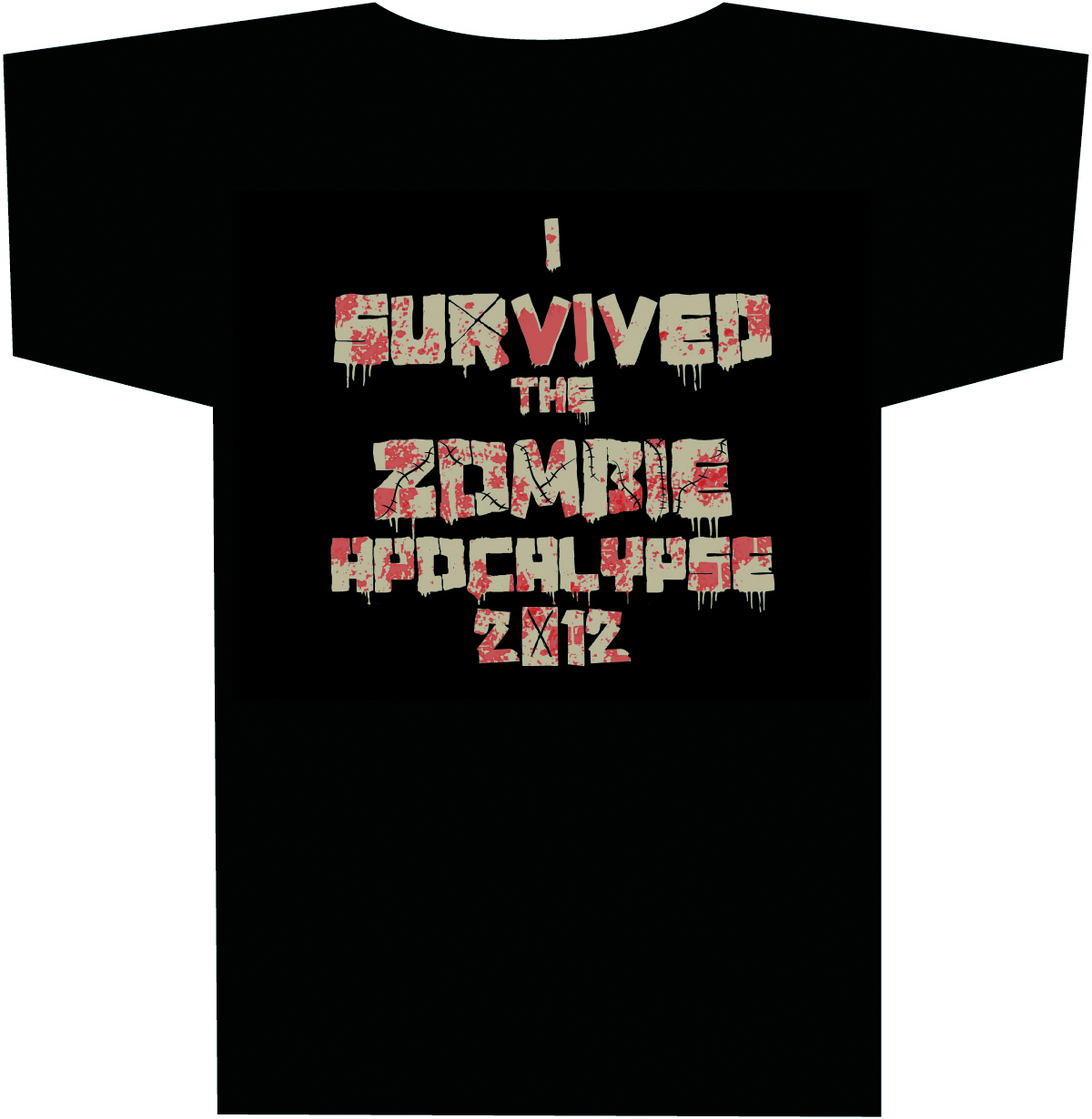 I SURVIVED THE 2012 ZOMBIE APOCALYPSE T/S XL