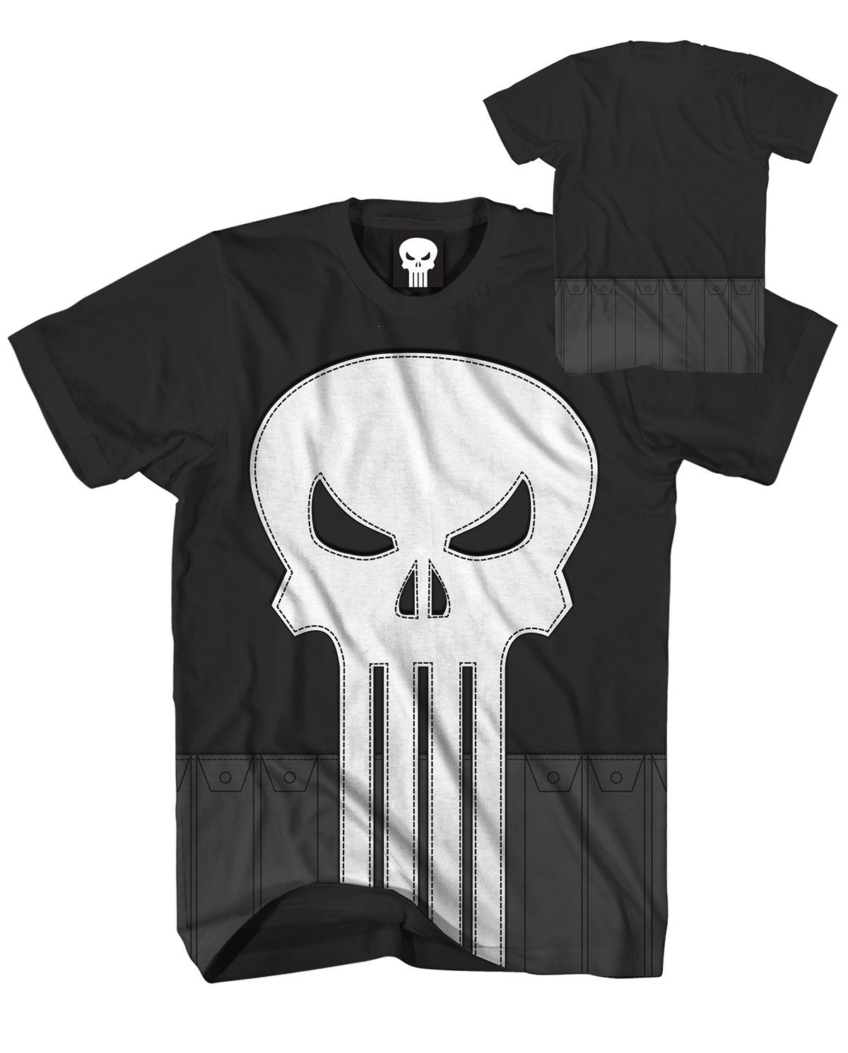 PUNISHER SEWN PUNISHER BLACK T/S MED