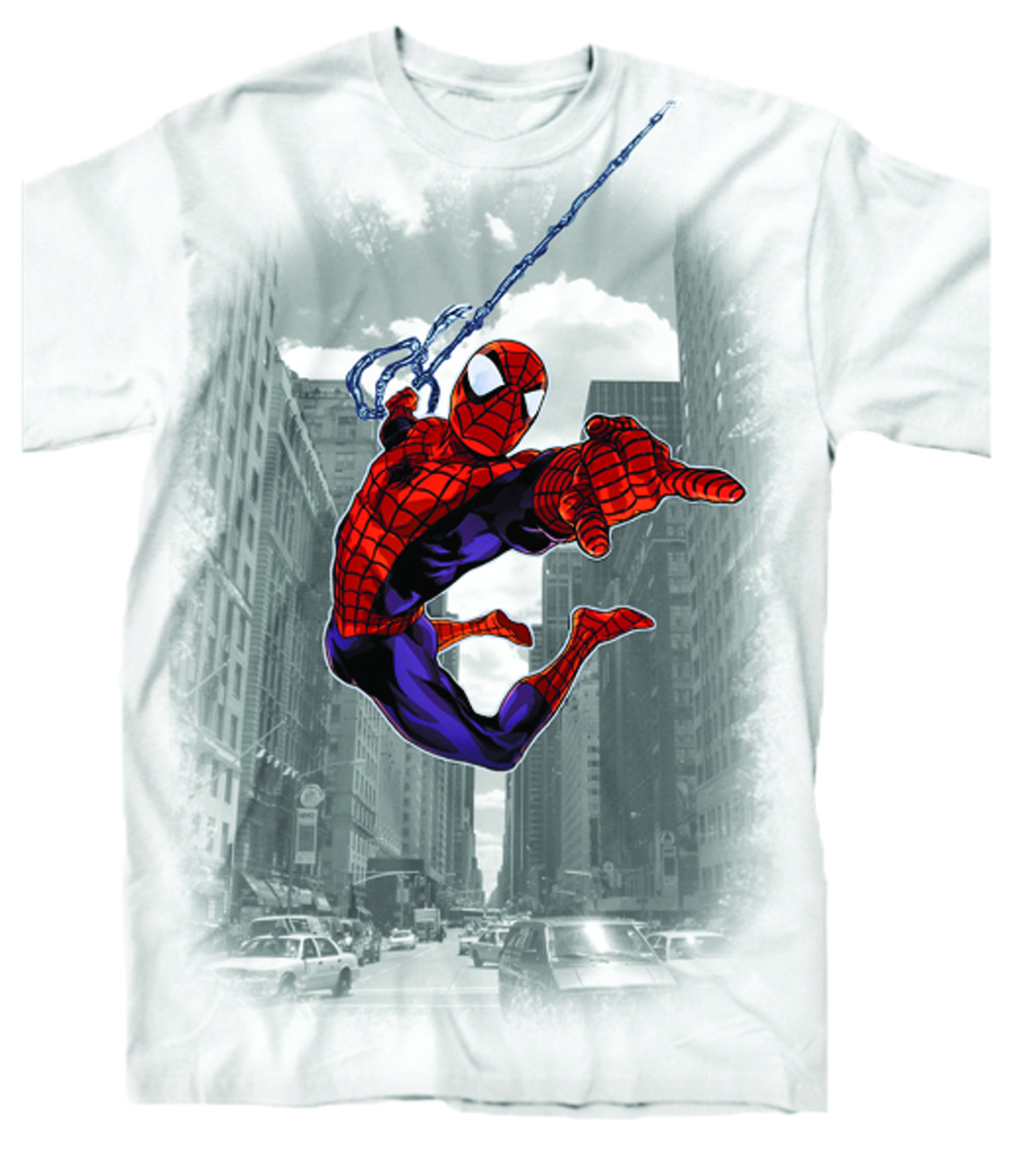 SPIDER-MAN THROUGH THE CITY PX WHT T/S MED