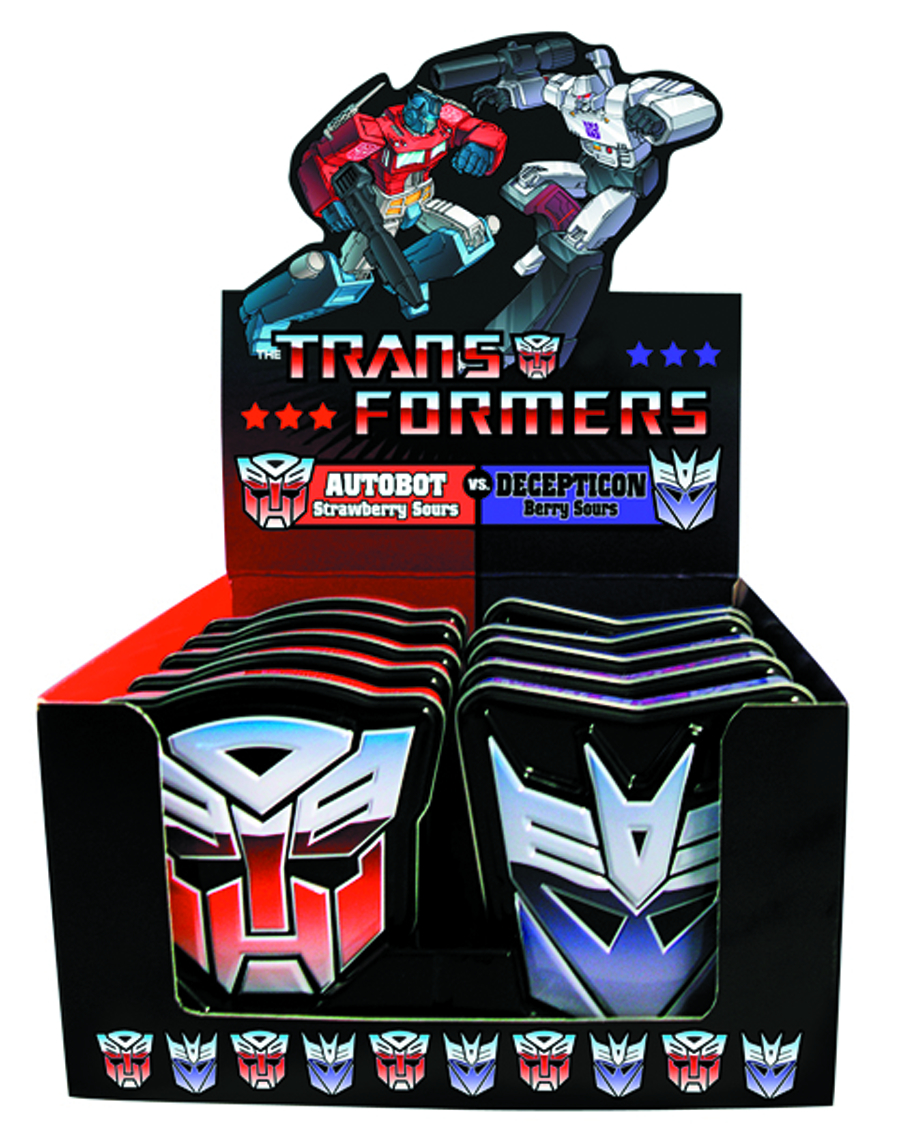 TRANFORMERS CANDY TIN 12CT DISP
