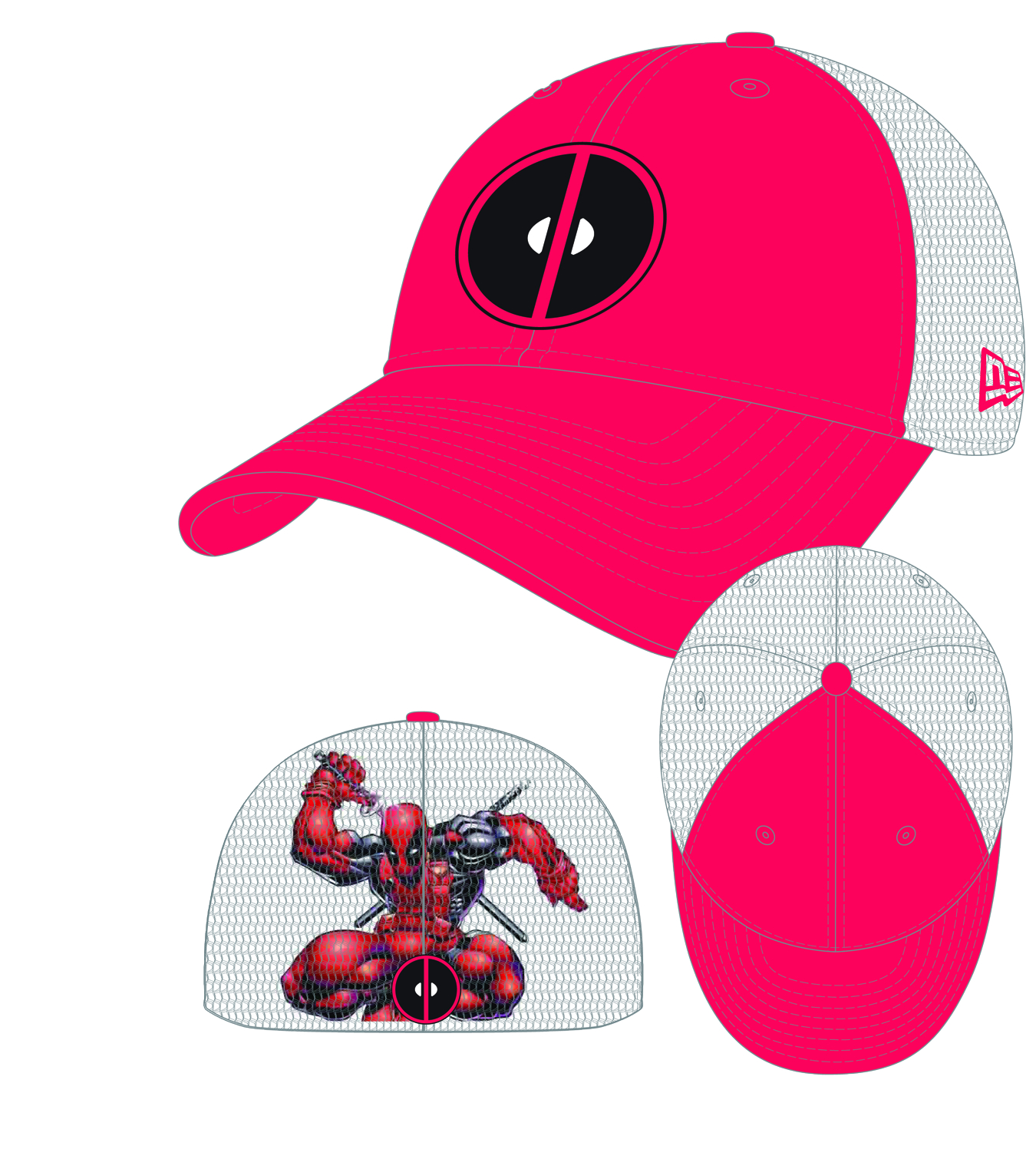 HEROMESH DEADPOOL STRETCH FIT CAP
