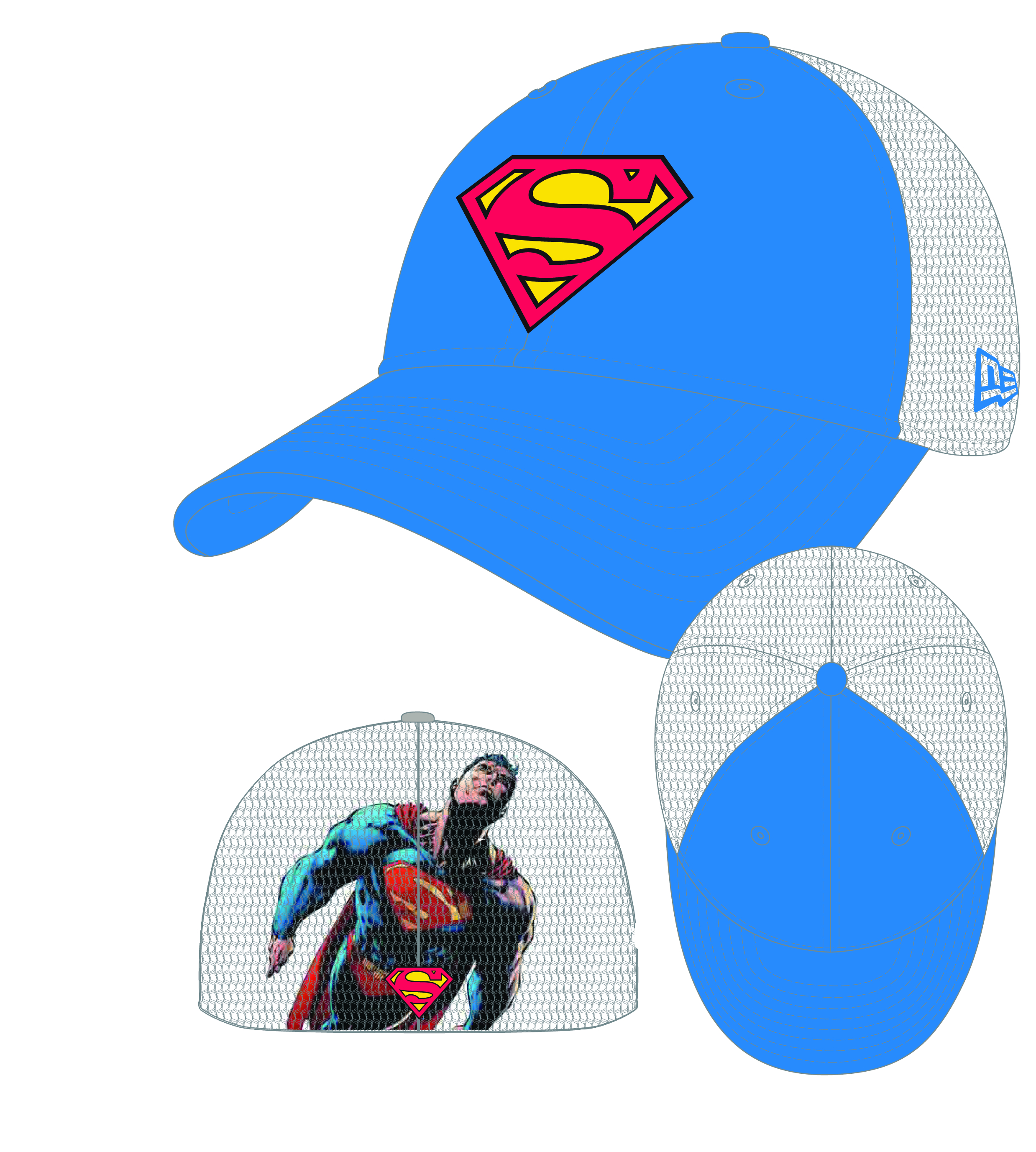 HEROMESH SUPERMAN STRETCH FIT CAP