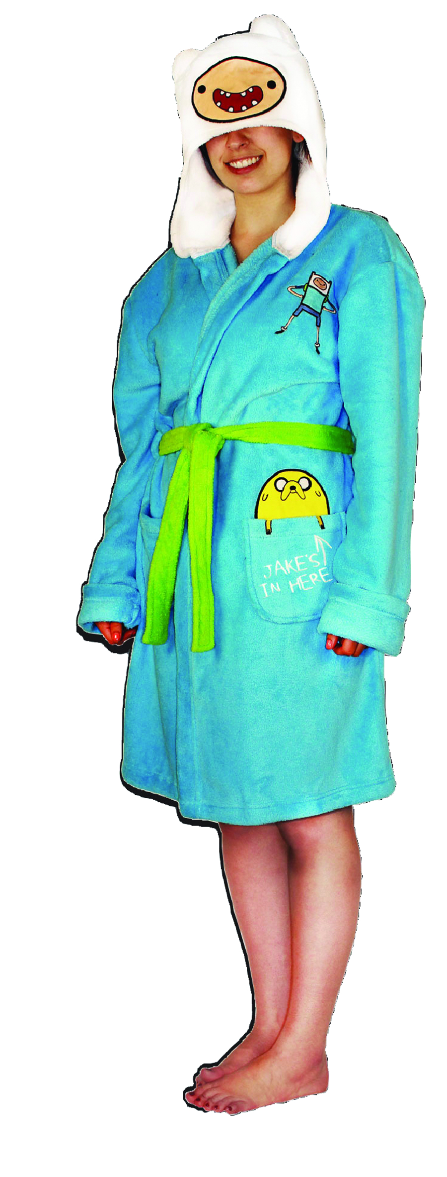 ADVENTURE TIME HOODED PLUSH BATHROBE LG/XL