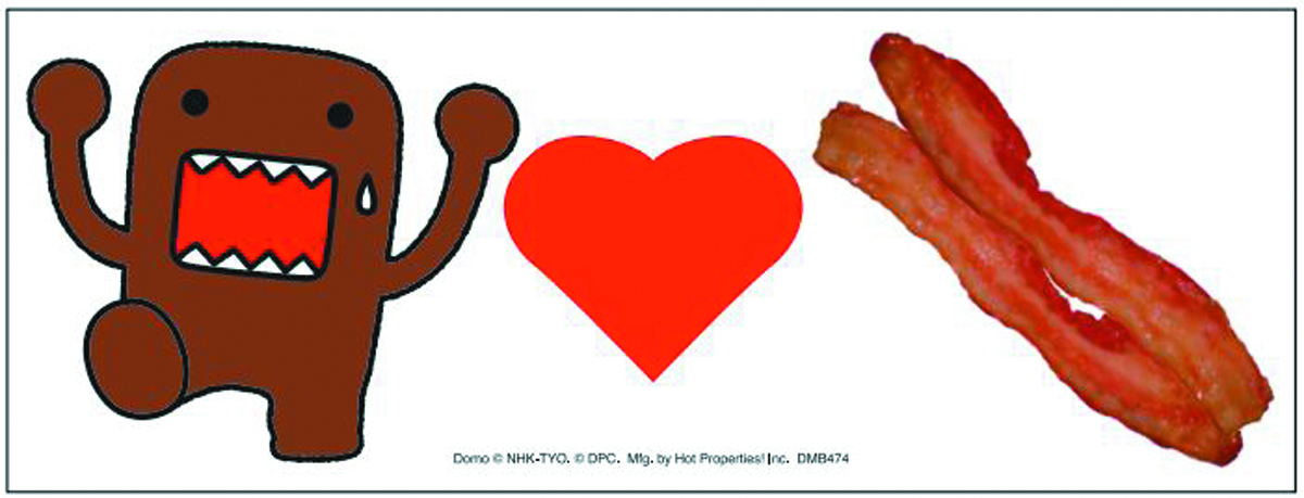 DOMO LOVES BACON CAR MAGNET