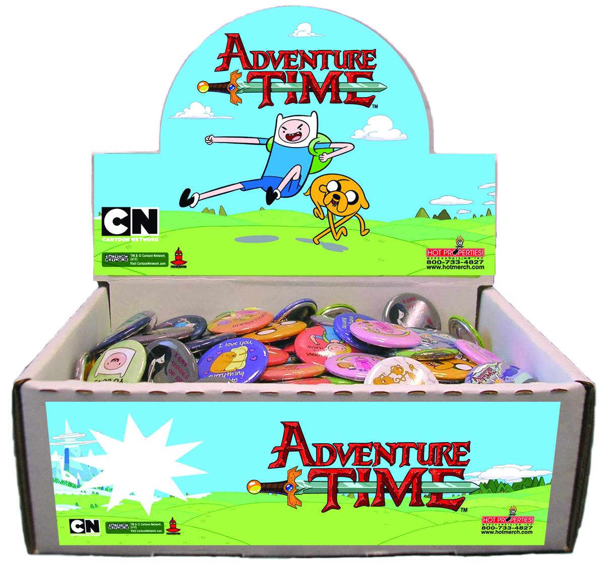 ADVENTURE TIME 100PC BUTTON ASST
