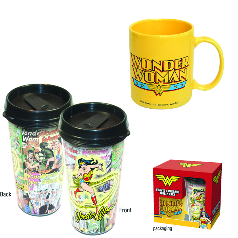 WONDER WOMAN CERAMIC AND TRAVEL MUG COMBO SET