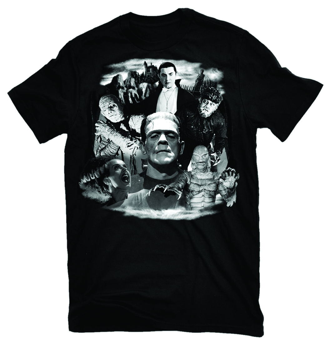 UNIVERSAL MONSTERS COLLAGE T/S LG