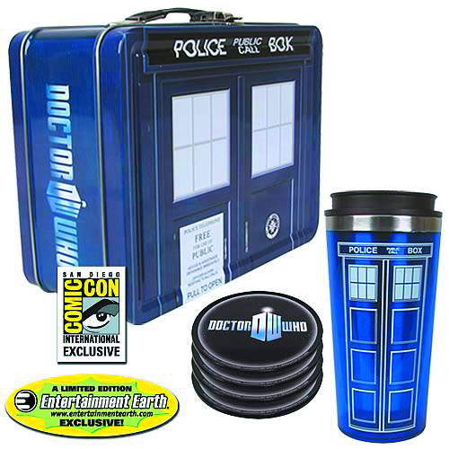 DOCTOR WHO TARDIS TIN TOTE SDCC GIFT SET