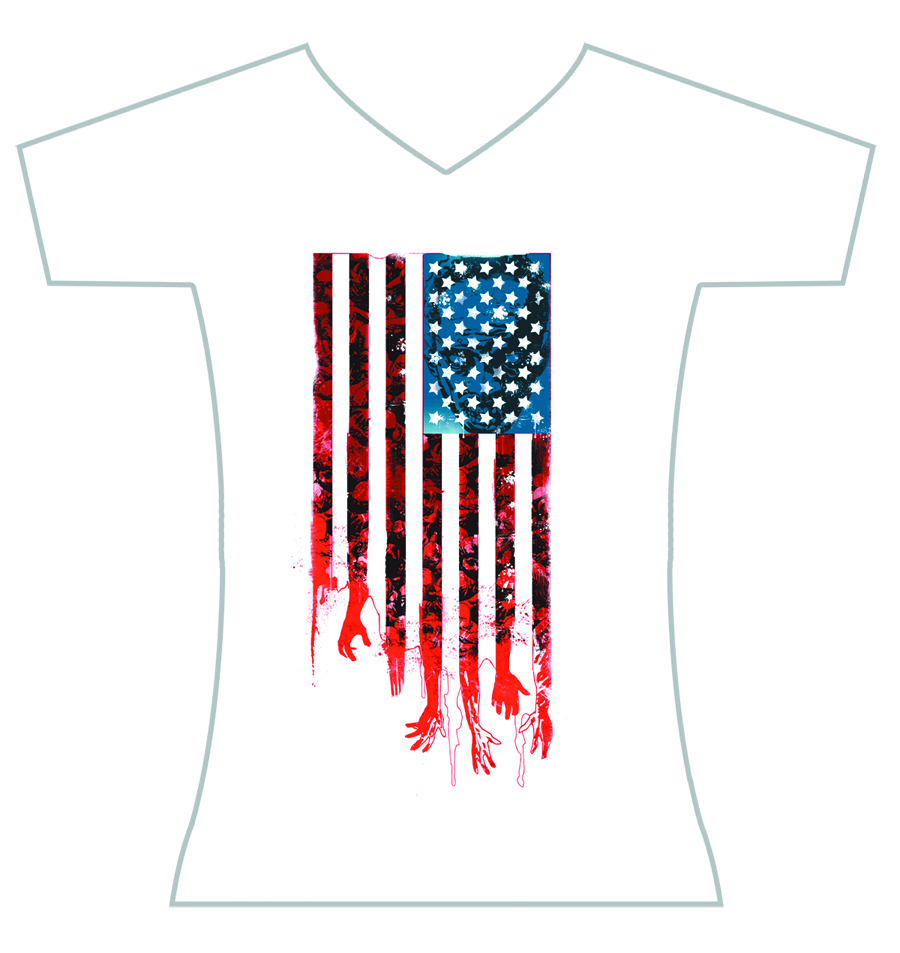 WALKING DEAD T/S FLAG WOMENS LG