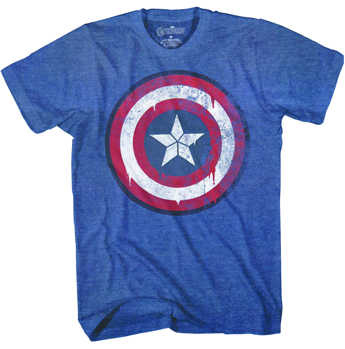 CAPTAIN AMERICA NEW SHIELD NAVY HEATHER T/S LG