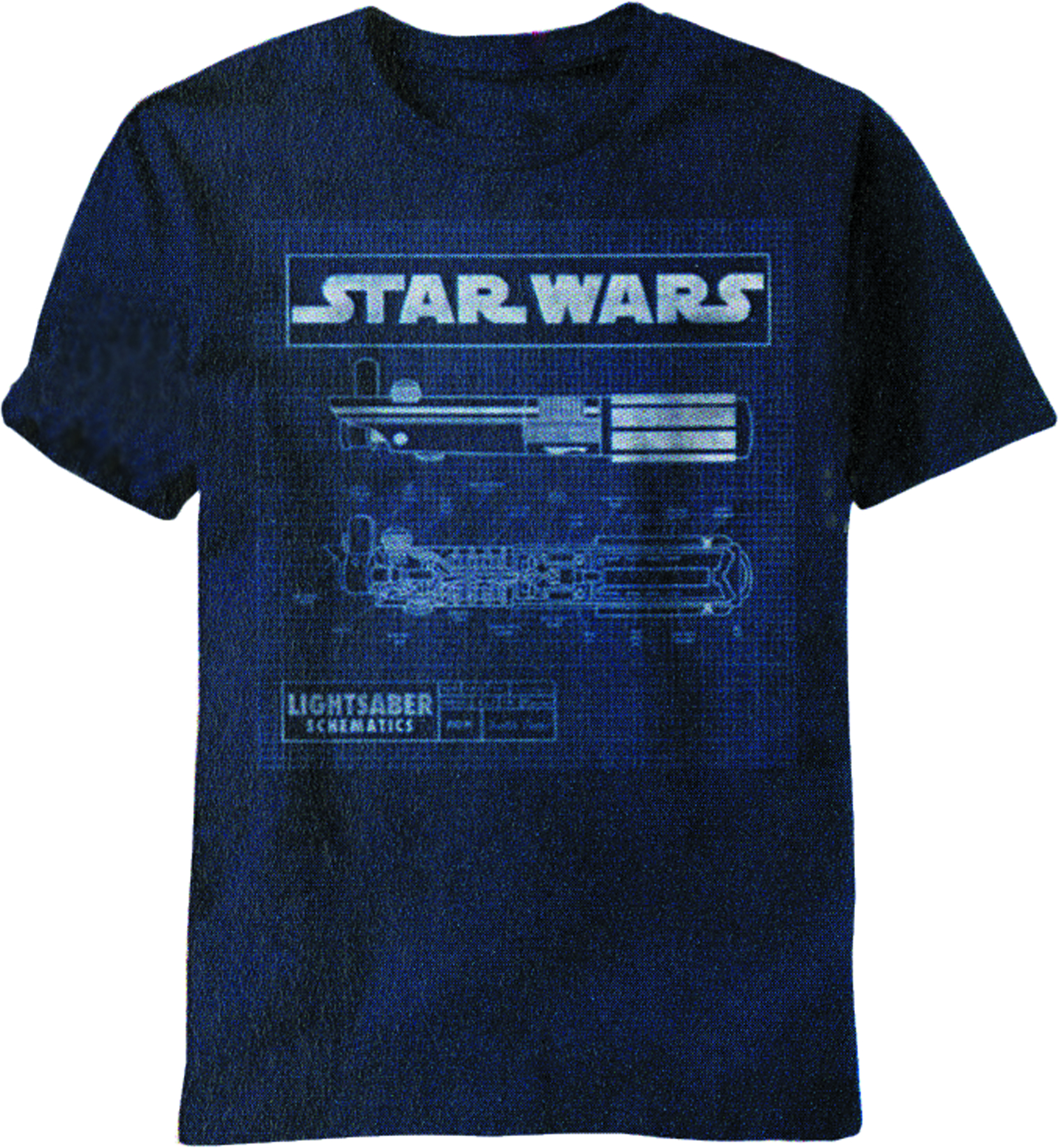 STAR WARS SABER DIAGRAM NAVY T/S MED