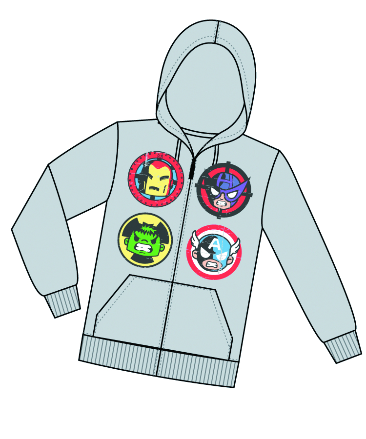 MARVEL X TOKIDOKI POWERED UP HOODIE SM
