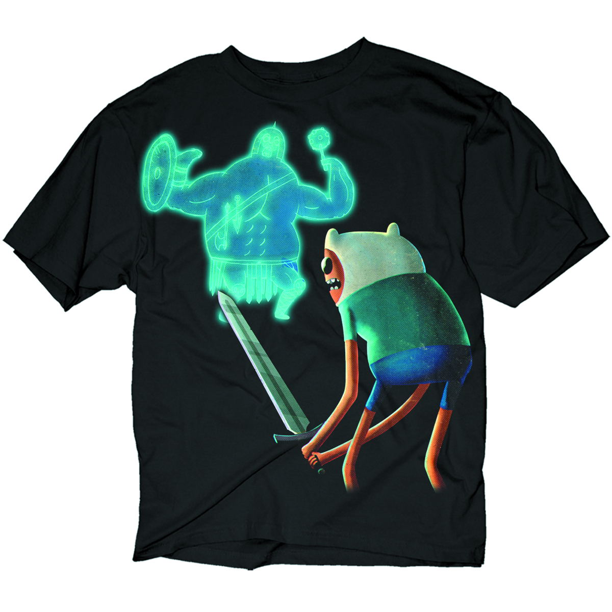 ADVENTURE TIME FINN VS GLADIATOR PX BLK T/S MED