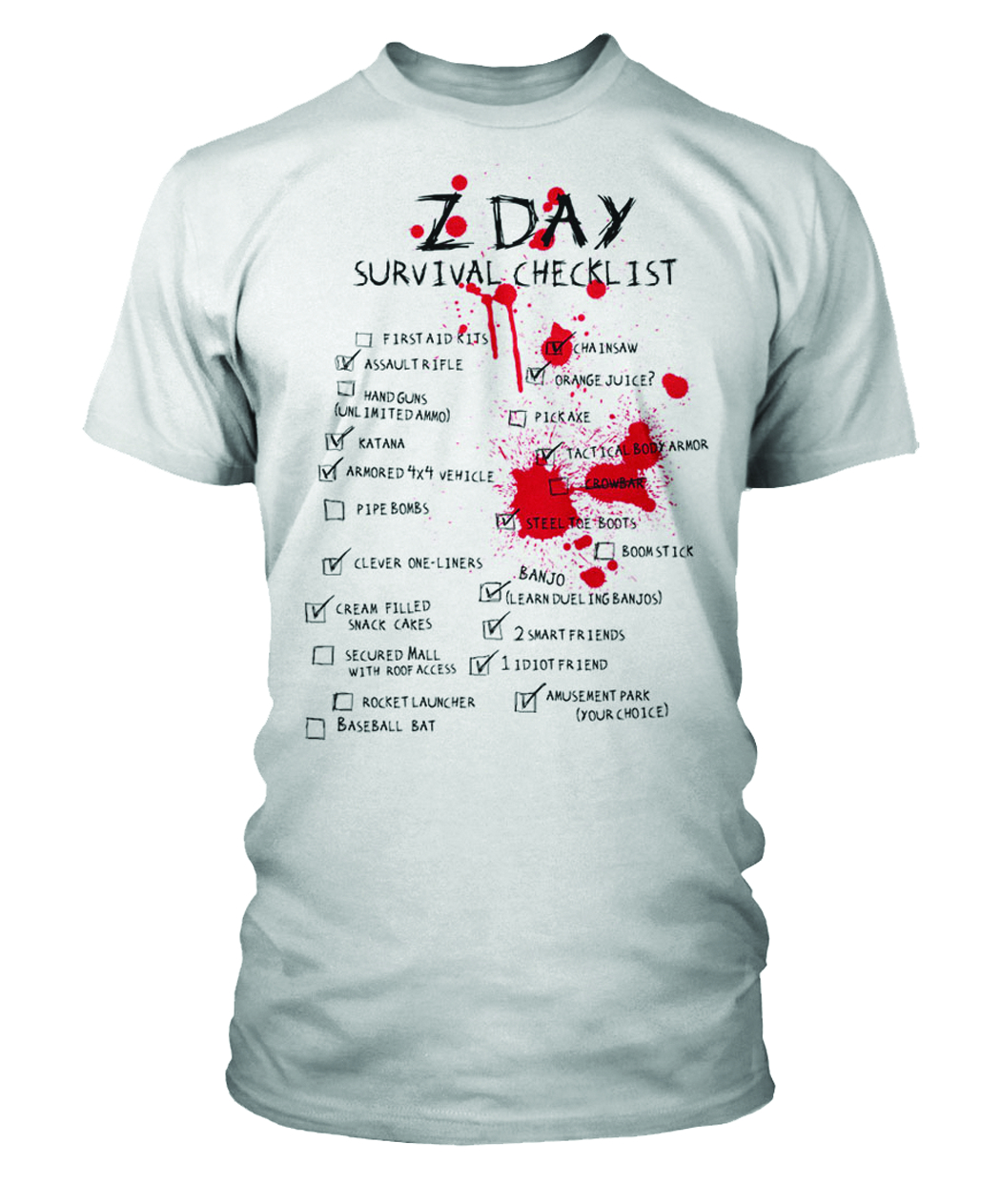 Z-DAY SURVIVAL CHECKLIST WHT T/S XL