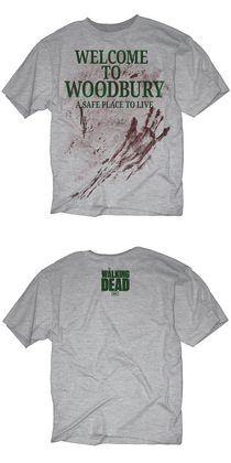 WALKING DEAD WELCOME TO WOODBURY PX HEATHER T/S MED