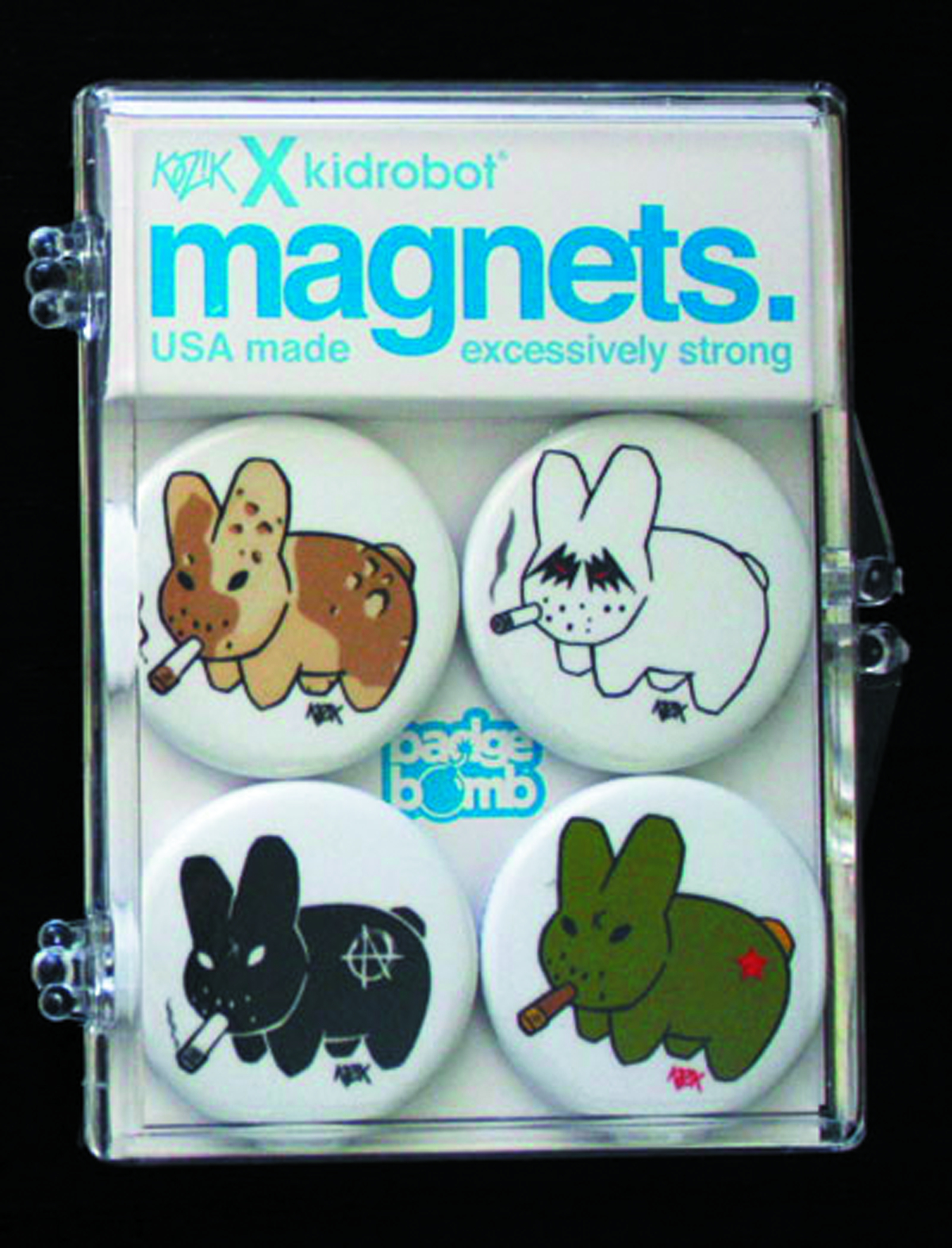 SMORKIN LABBITS WHITE BACKGROUND MAGNET 4PK