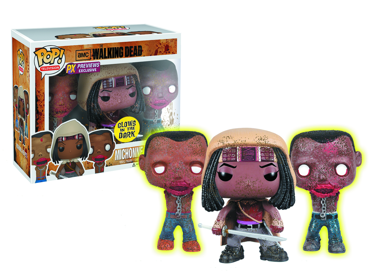 POP WALKING DEAD MICHONNE & GID PET ZOMBIES PX 3 PK