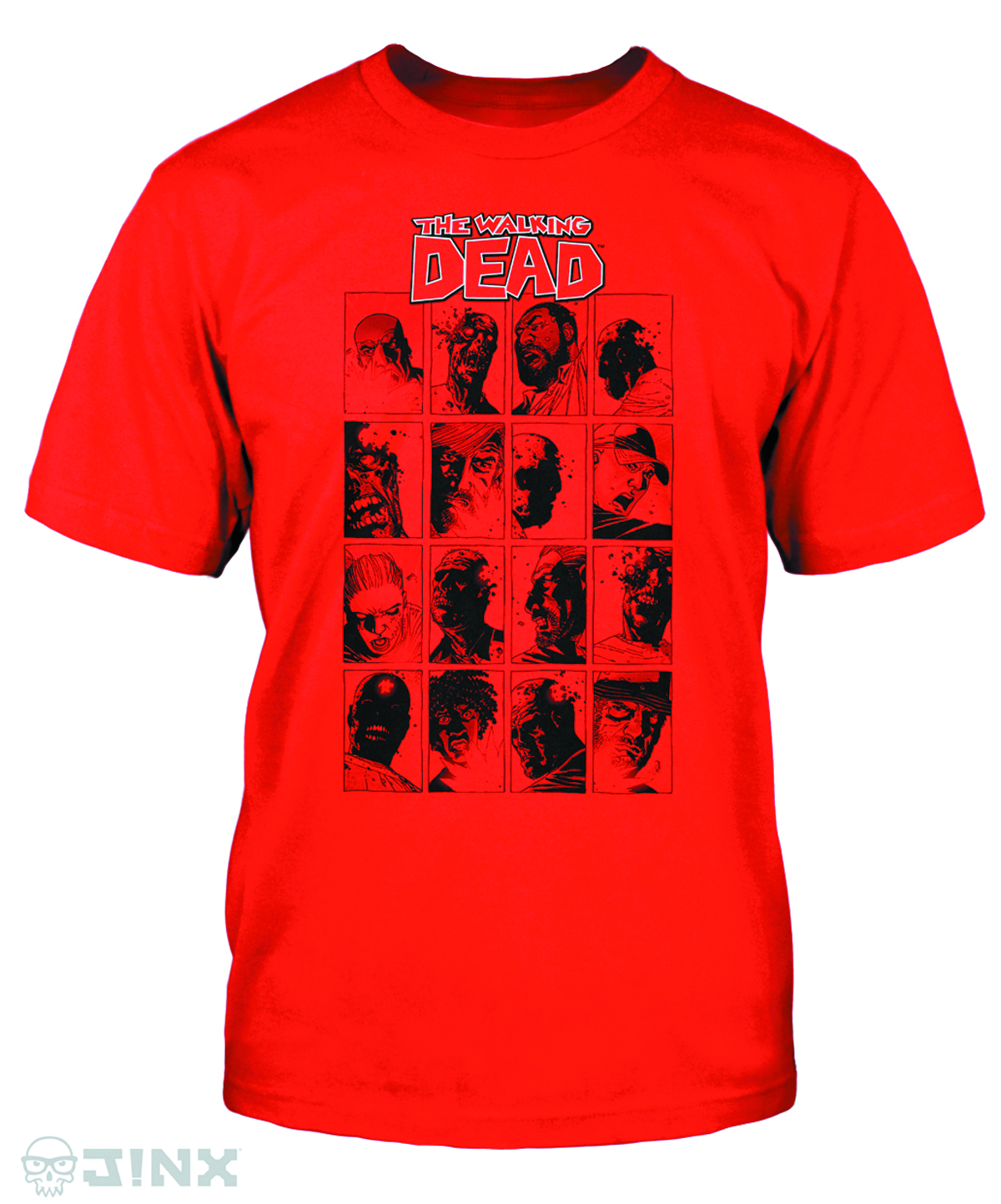 WALKING DEAD COMIC FACES RED T/S LG