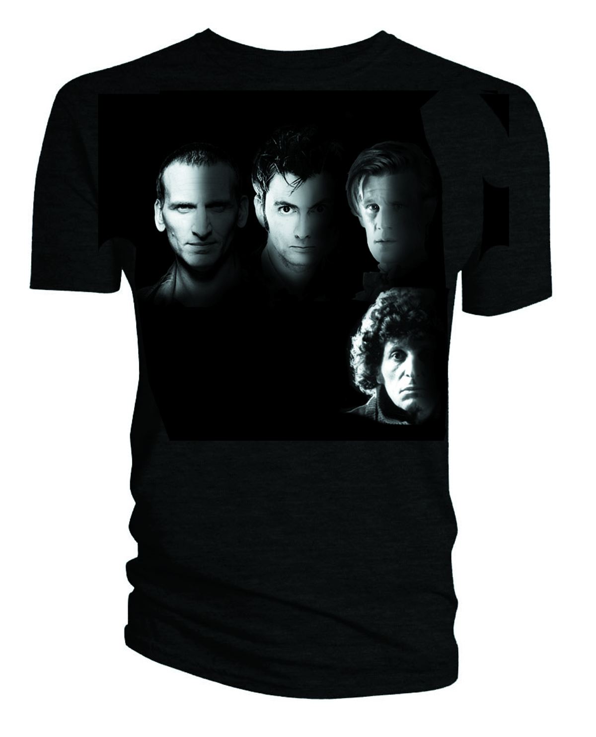 DOCTOR WHO WITH THE DOCTORS BLK T/S MED