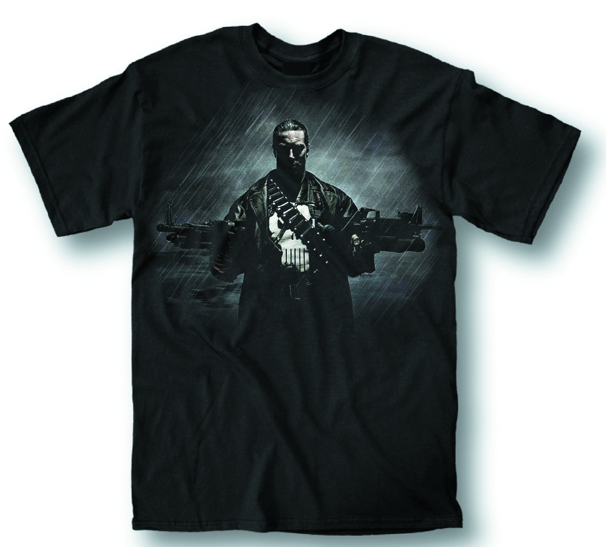PUNISHER TWO GUNS NO WAITING PX BLK T/S LG