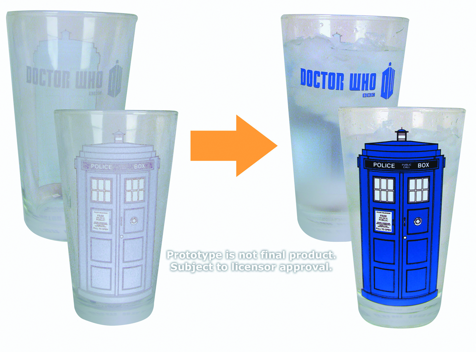 DOCTOR WHO COLOR-CHANGING TARDIS 16OZ GLASS 2PK