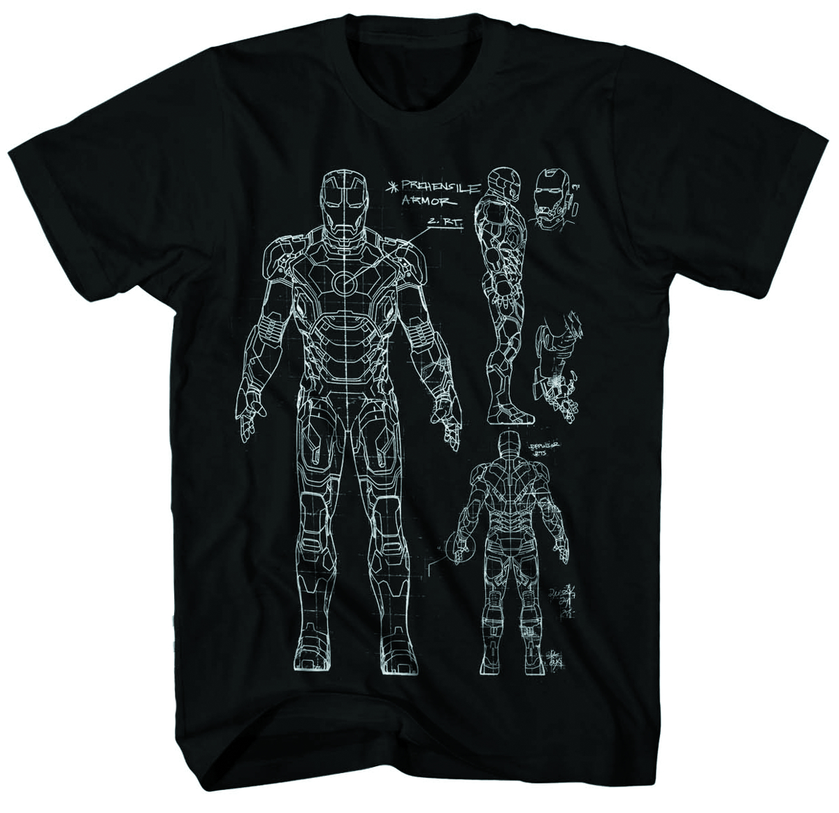IRON MAN 3 BLUEPRINT-M PX BLK T/S LG