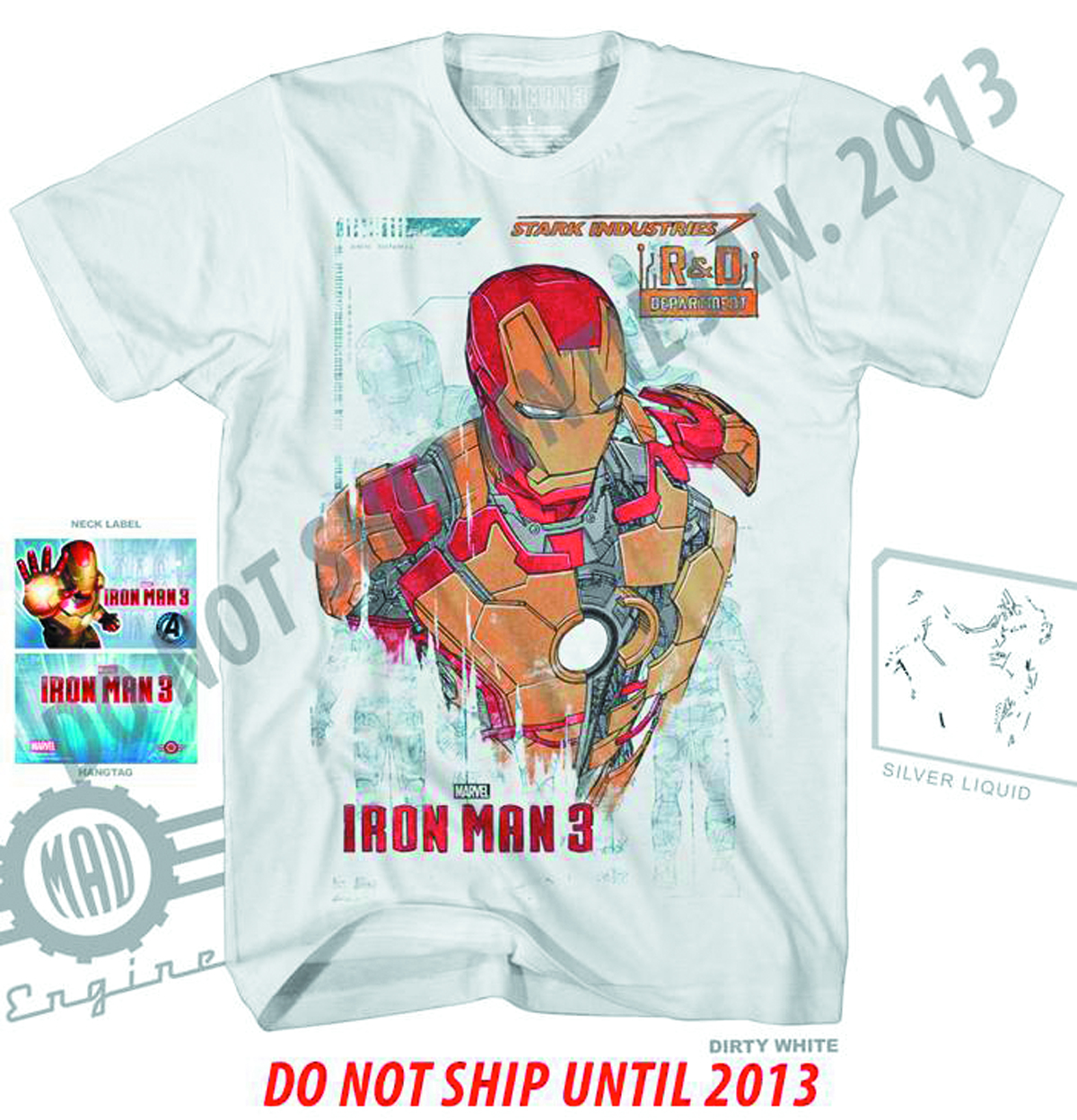 IRON MAN 3 R AND D-M DIRTY WHITE T/S MED
