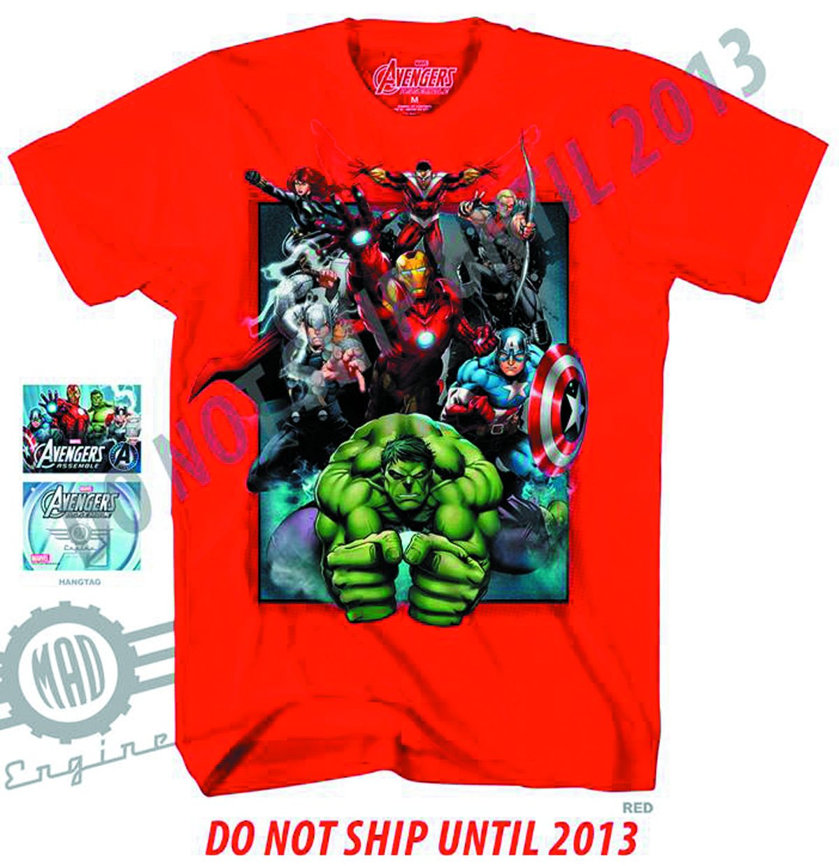 AVENGERS ASSEMBLE BOXED IN RED T/S MED