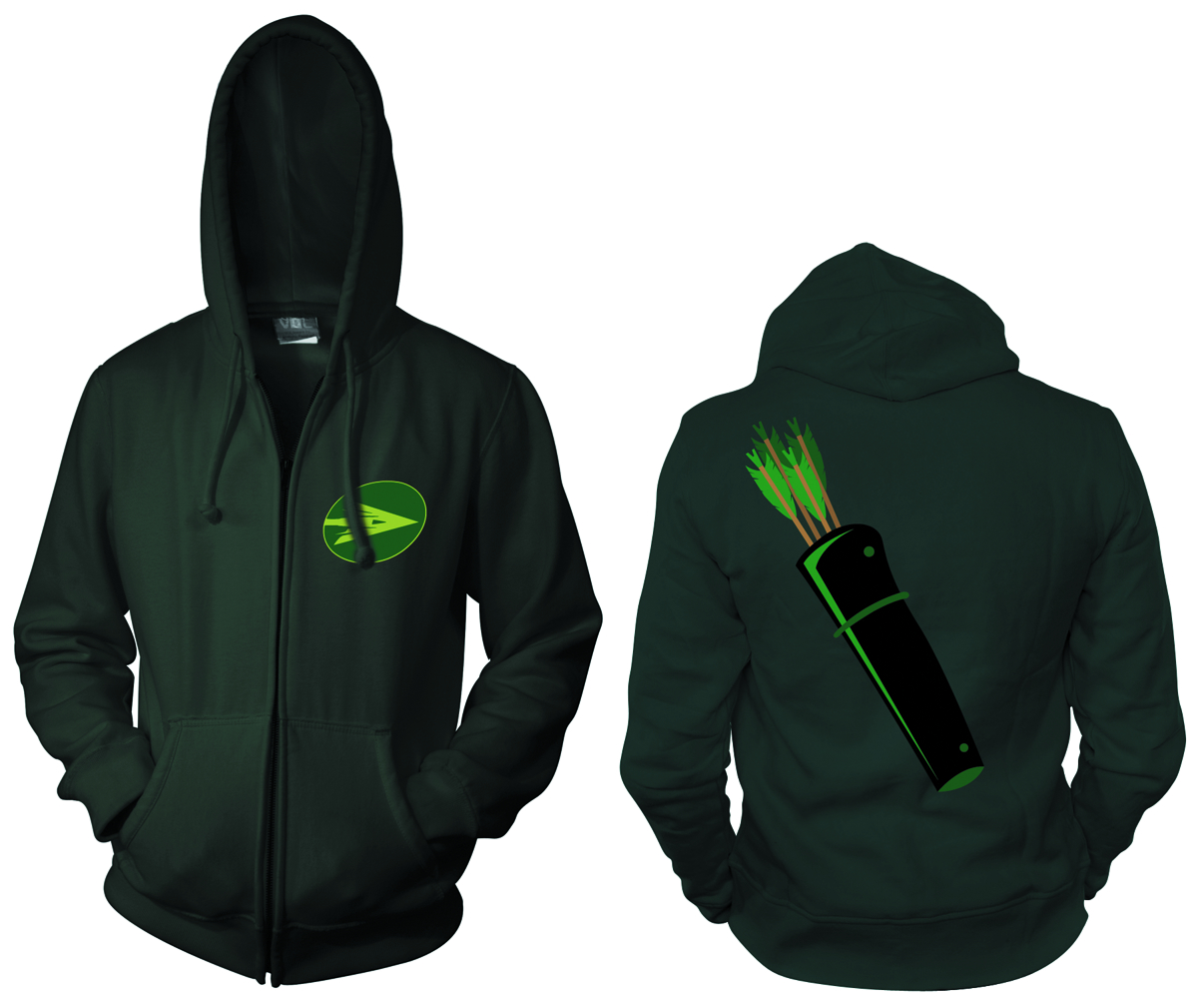 GREEN ARROW SYMBOL ZIP HOODIE XL