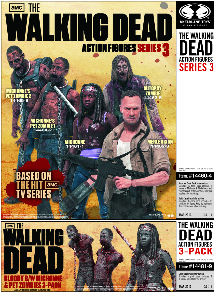 WALKING DEAD TV SER 3 BLOODY B&W AF 3-PK CS