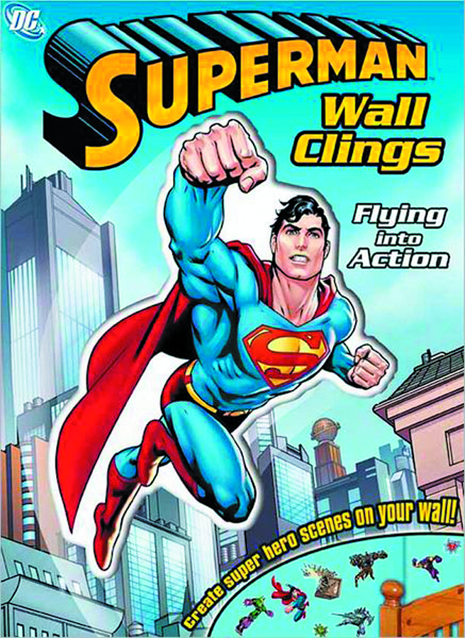 DC SUPERMAN FLYING INTO ACTION WALL CLINGS SC