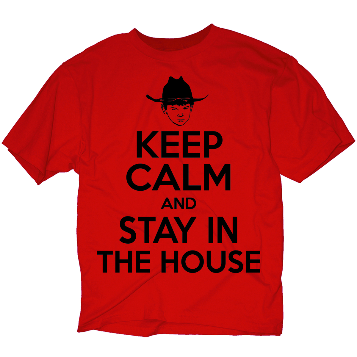WALKING DEAD KEEP CALM STAY IN THE HOUSE PX RED T/S LG