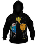 ADVENTURE TIME SPACE FIST BUMP PX BLK HOODIE MED