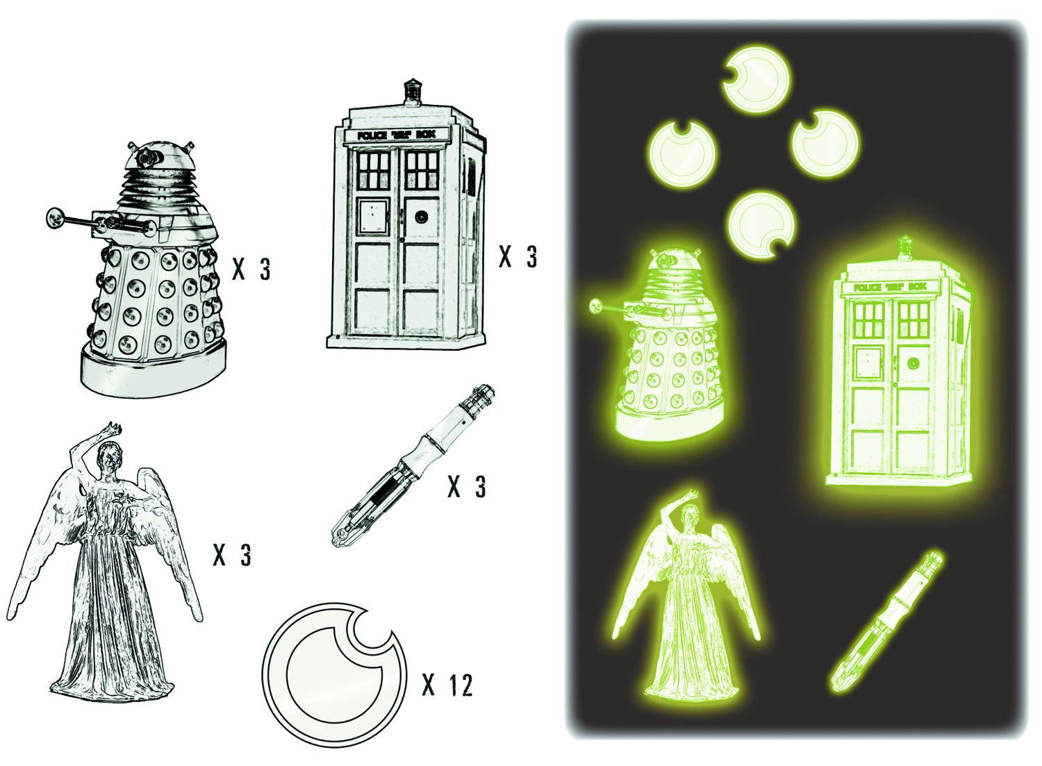 DOCTOR WHO GID 2D MOULDED STICKER SET