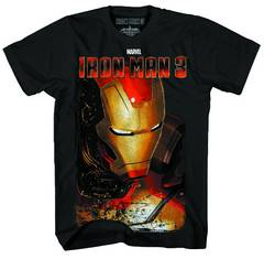 IRON MAN 3 FULL SHELL-M PX BLK LIQUID GOLD T/S LG