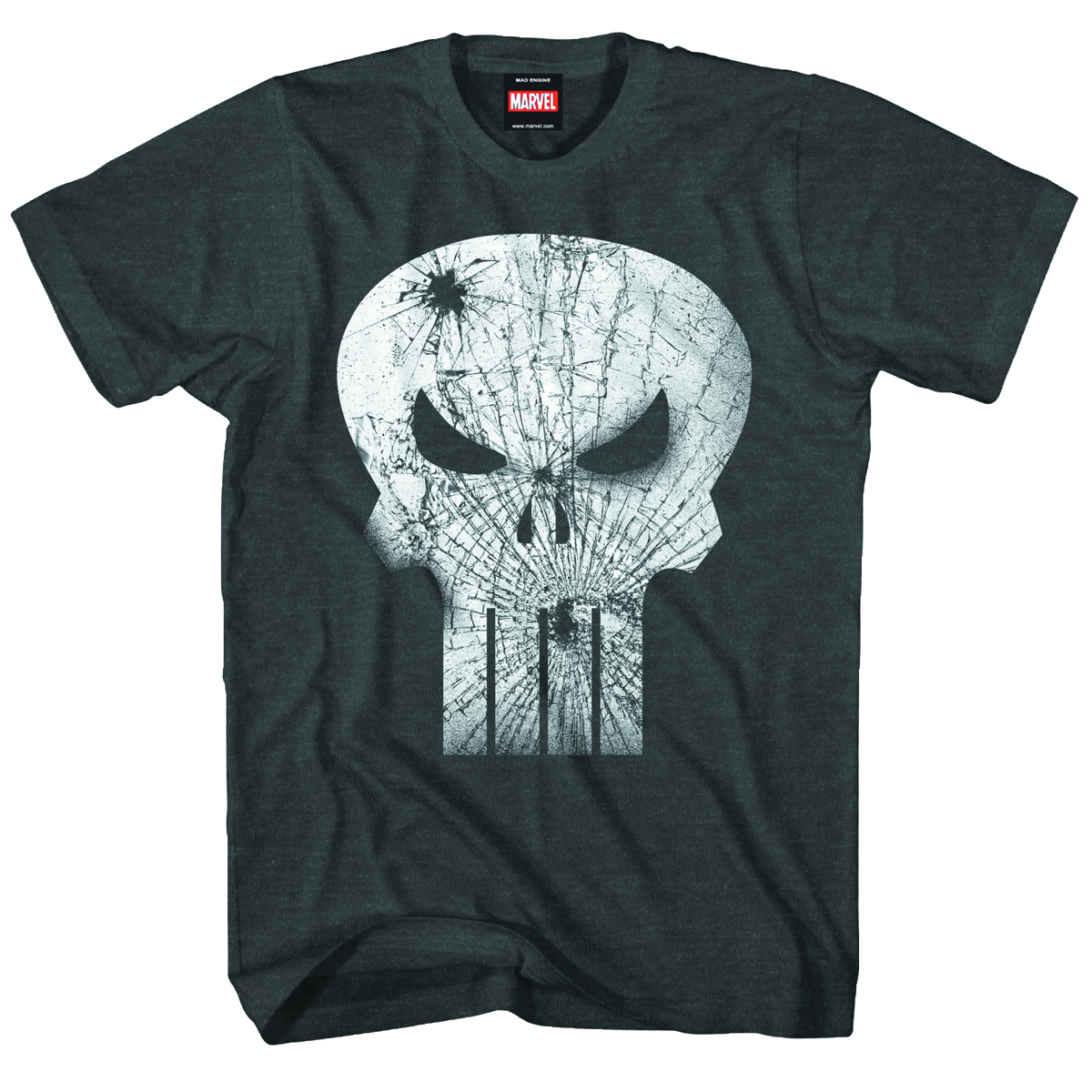 PUNISHER BROKEN FACE PX BLK CHAR HEATHER T/S LG