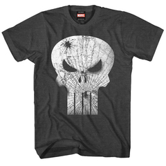 PUNISHER BROKEN FACE PX BLK CHAR HEATHER T/S XXL