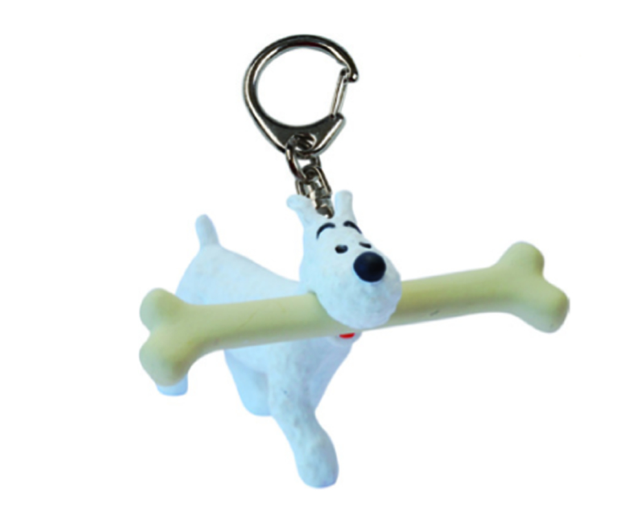 TINTIN SNOWY WALKING WITH BONE 3CM PVC KEYRING