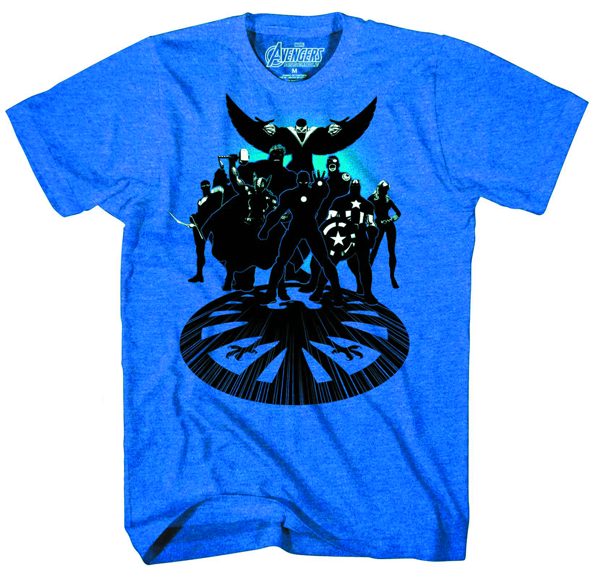 AVENGERS GET SUITED PX BLUE HEATHER T/S SM