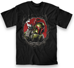 STAR WARS BOBA CHEST HOLE PX BLK T/S SM