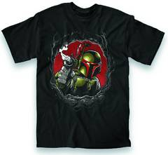 STAR WARS BOBA CHEST HOLE PX BLK T/S LG
