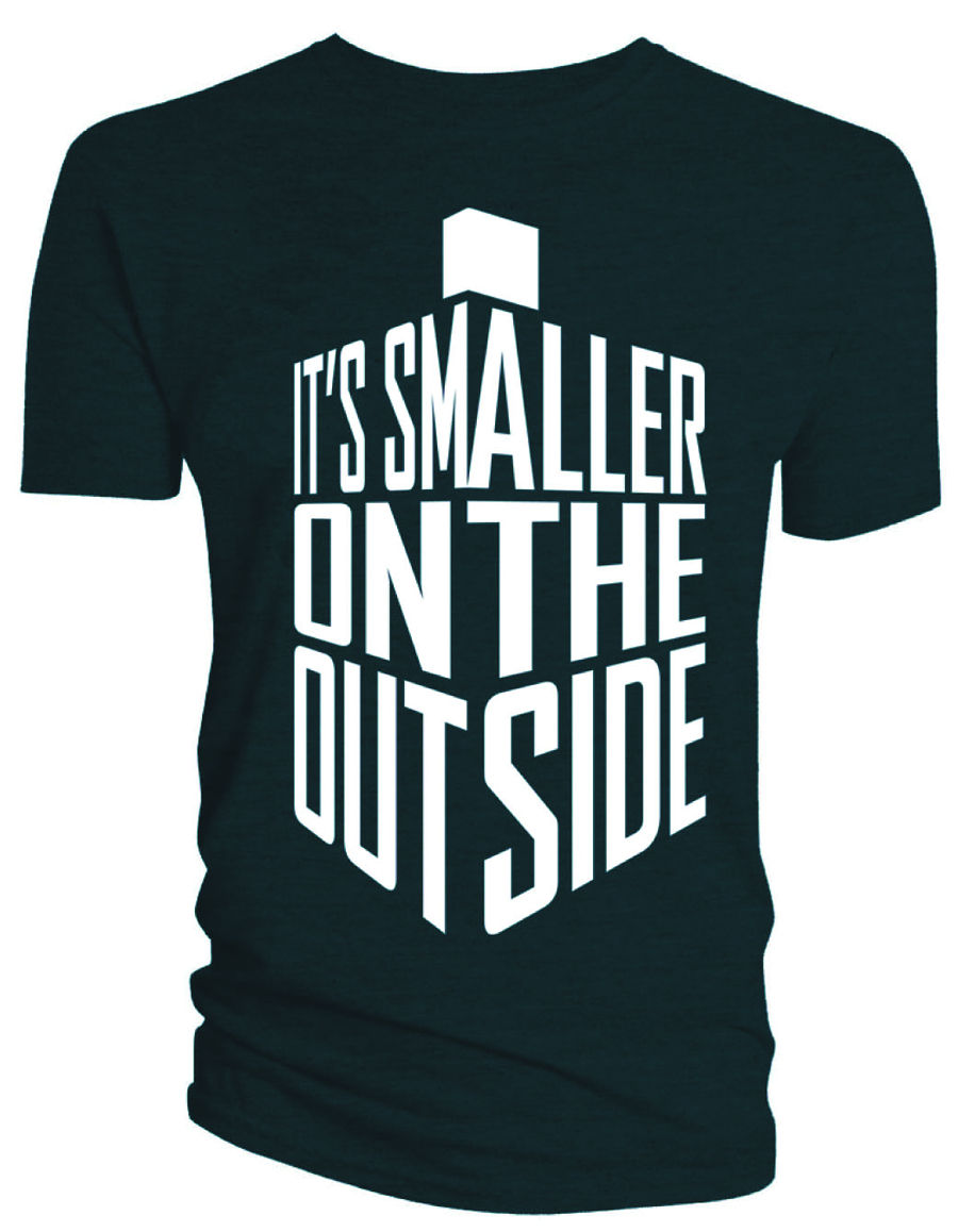 DOCTOR WHO SMALLER ON THE OUTSIDE NAVY T/S SM