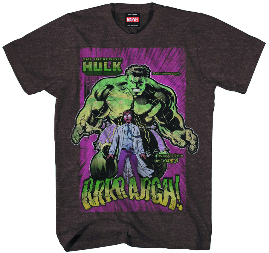 HULK BRUCE CHANGE CHOC HEATHER T/S LG