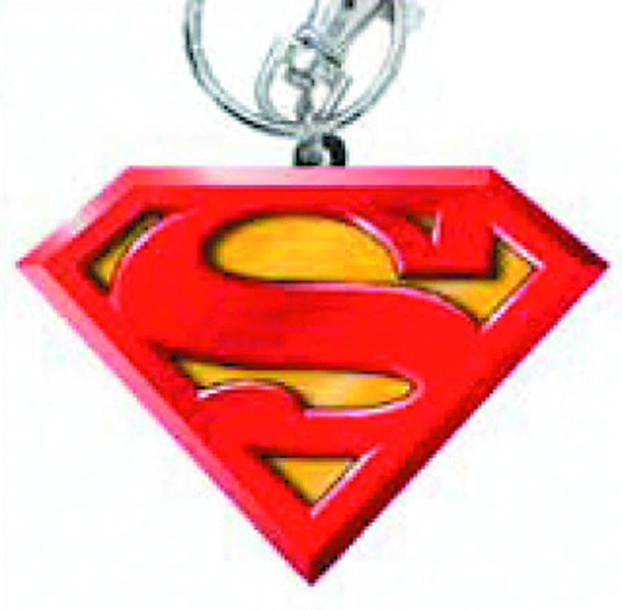 SUPERMAN LOGO COLORED PEWTER KEYRING