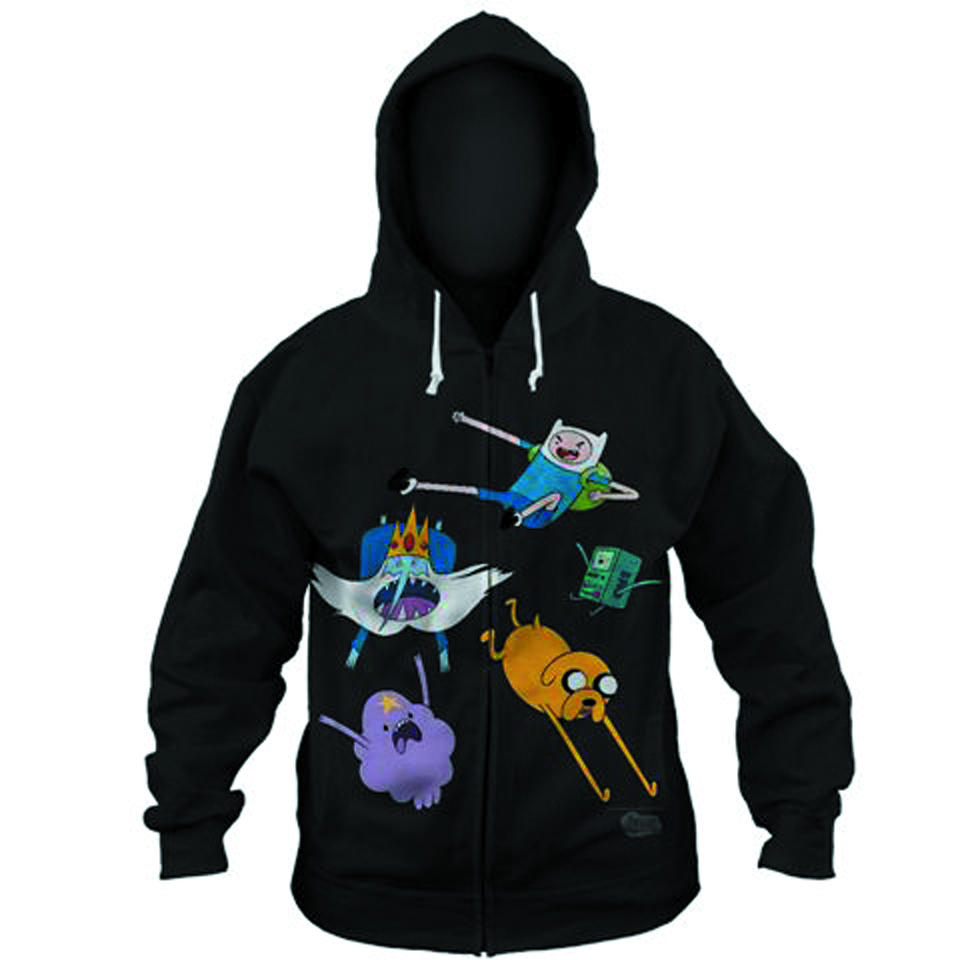 ADVENTURE TIME FALLING FRIENDS PX BLK HOODIE LG