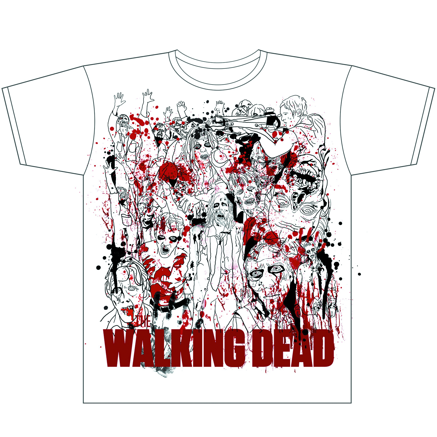 WALKING DEAD ZOMBIES FREE HAND PX WHT T/S LG