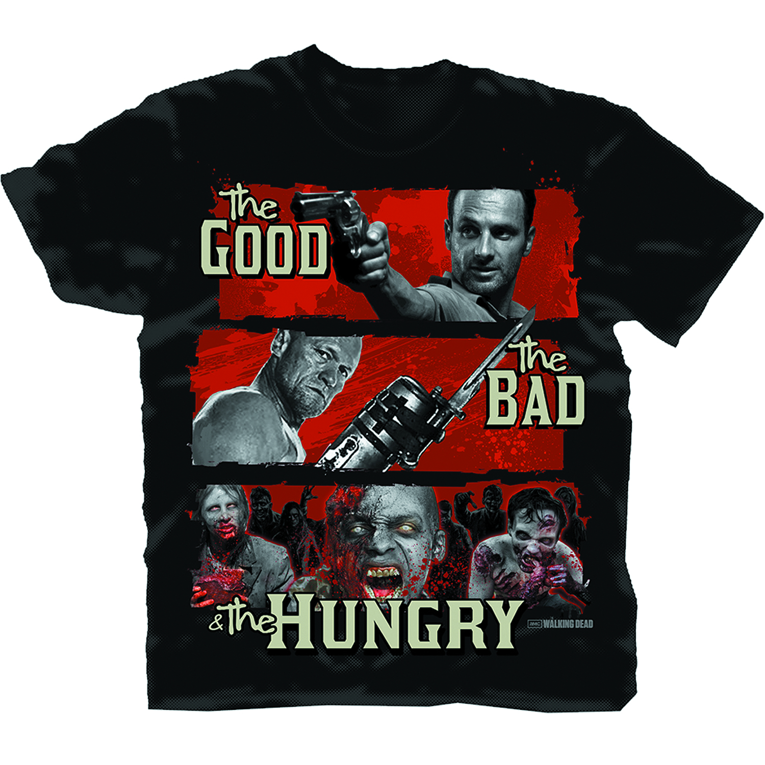 WALKING DEAD GOOD BAD HUNGRY PX BLK T/S LG