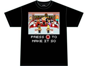 STAR TREK TNG PRESS A TO MAKE IT SO BLK T/S MED