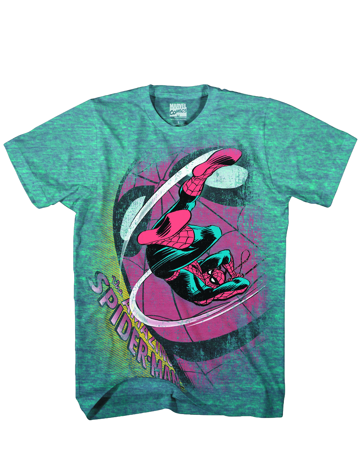SPIDER-MAN SWING SHOT PX TEAL TRIBLEND T/S XXL